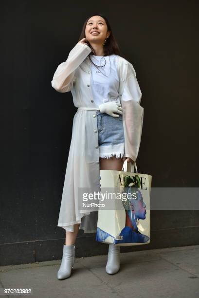 A guest is seen outside BFC Showspace showcasing their outfit during the London Fashion Week Men June 2018 in London UK on June 9 2018