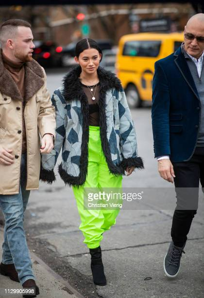 A guest is seen outside Boss during New York Fashion Week Autumn Winter 2019 on February 13 2019 in New York City