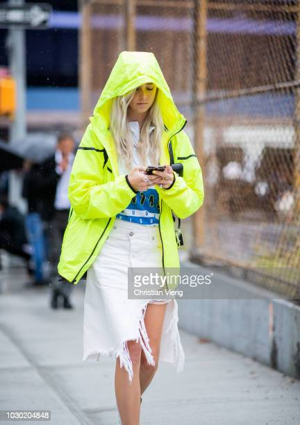 A guest is seen outside BOSS during New York Fashion Week Spring/Summer 2019 on September 9 2018 in New York City