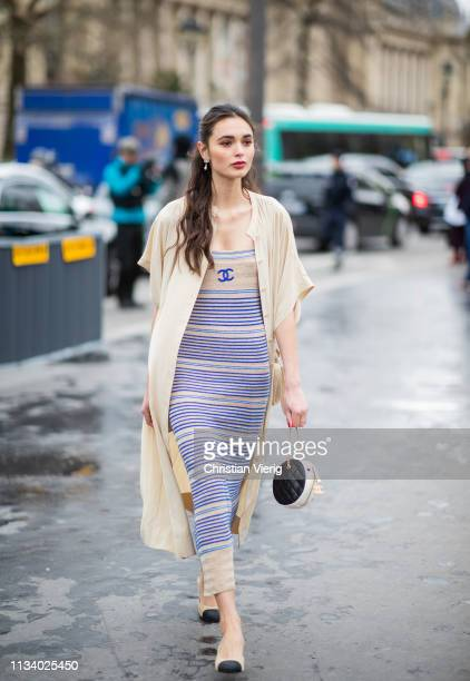 A guest is seen outside Chanel during Paris Fashion Week Womenswear Fall/Winter 2019/2020 on March 05 2019 in Paris France