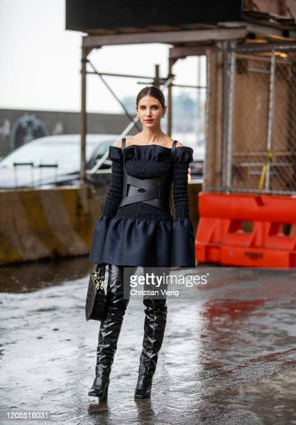 Guest is seen outside Dion Lee during New York Fashion Week Fall / Winter on February 10, 2020 in New York City.