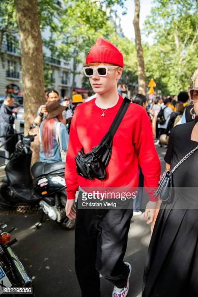 A guest is seen outside Dior Homme on day five of Paris Fashion Week Menswear SS19 on June 23 2018 in Paris France