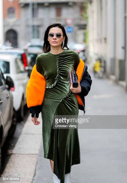 A guest is seen outside Dolce Gabbana during Milan Fashion Week Fall/Winter 2018/19 on February 25 2018 in Milan Italy