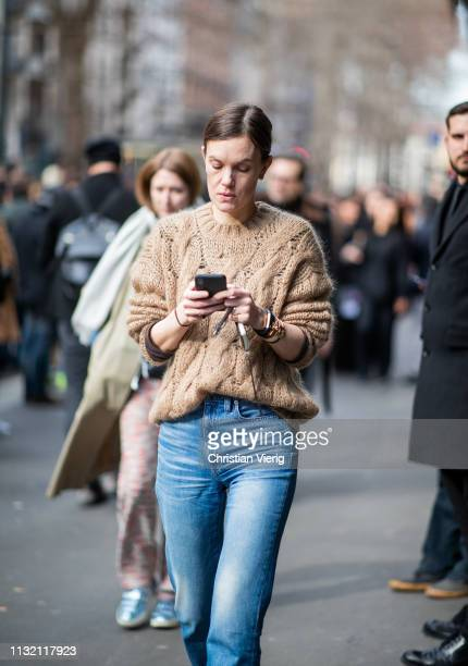 A guest is seen outside Dolce Gabbana on Day 5 Milan Fashion Week Autumn/Winter 2019/20 on February 24 2019 in Milan Italy