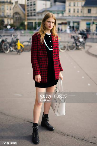 A guest is seen outside during Paris Fashion Week Womenswear Spring/Summer 2019 on October 1 2018 in Paris France