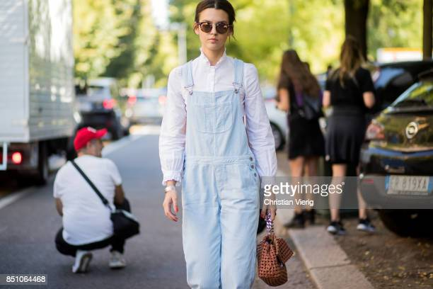 Guest is seen outside Fendi during Milan Fashion Week Spring/Summer 2018 on September 21, 2017 in Milan, Italy.
