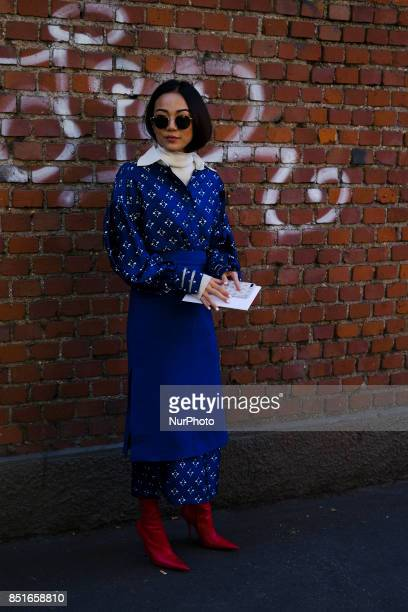 A guest is seen outside Fendi during Milan Fashion Week Spring/Summer 2018 on September 21 2017 in Milan Italy