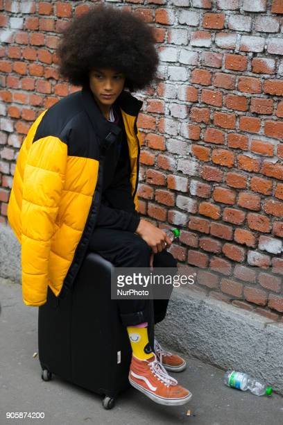 A guest is seen outside Fendi during Milan Men's Fashion Week Fall/Winter 2018/19 on January 15 2018 in Milan Italy