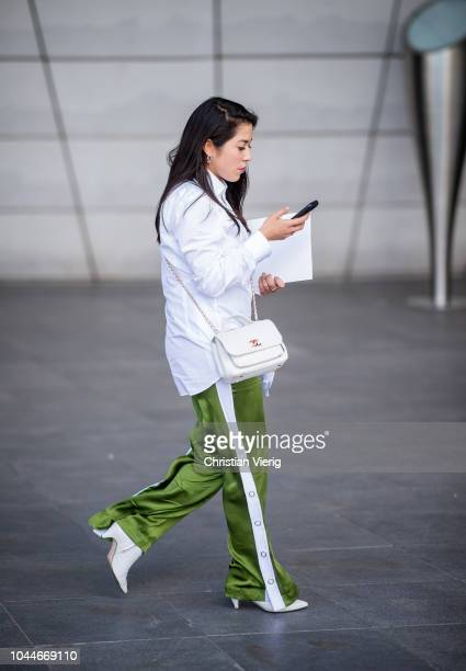 A guest is seen outside Giambattista Valli during Paris Fashion Week Womenswear Spring/Summer 2019 on October 1 2018 in Paris France