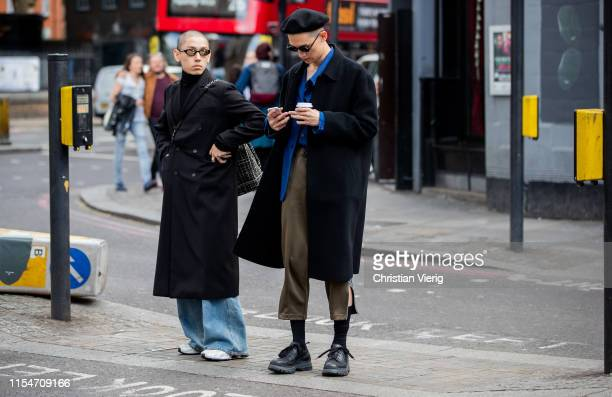 Guest is seen outside John Lawrence Sullivan during London Fashion Week Men's June 2019 on June 08, 2019 in London, England.