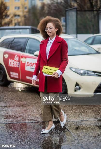 A guest is seen outside Marina Hoermanseder during the Berlin Fashion Week January 2018 on January 18 2018 in Berlin Germany