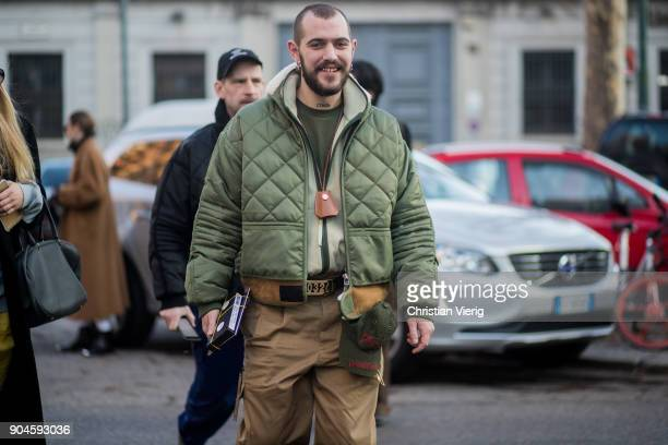 A guest is seen outside Marni during Milan Men's Fashion Week Fall/Winter 2018/19 on January 13 2018 in Milan Italy