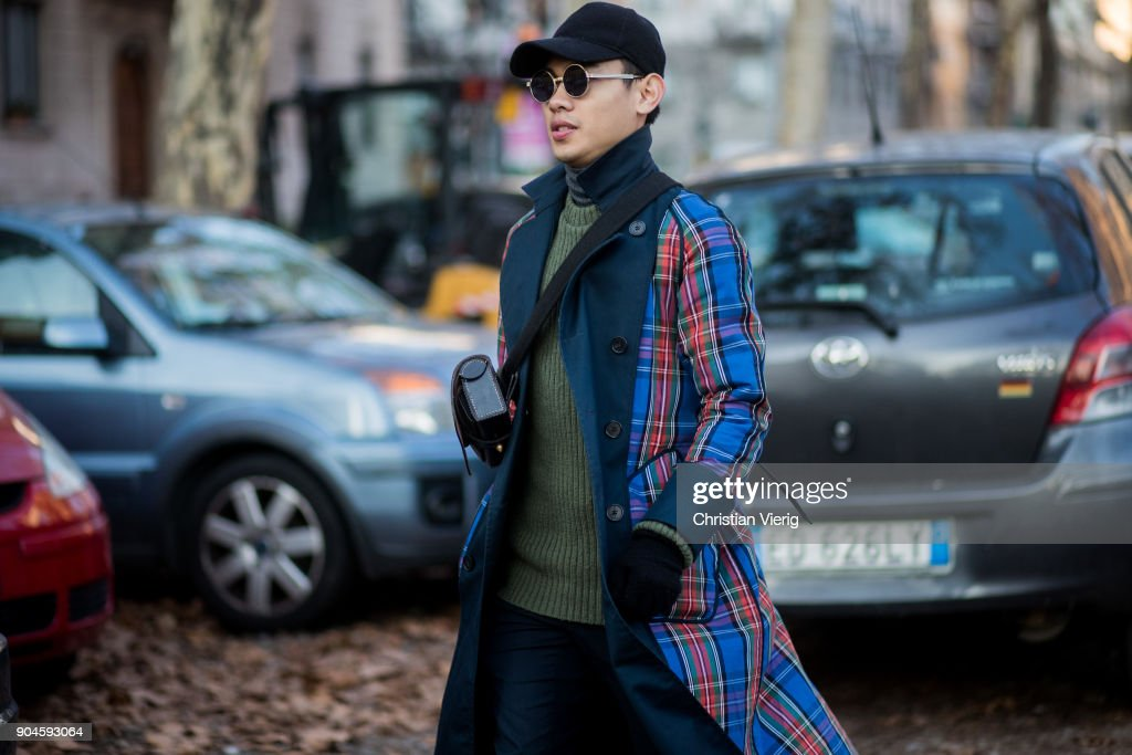A guest is seen outside Marni during Milan Men's Fashion Week Fall/Winter 2018/19 on January 13, 2018 in Milan, Italy.