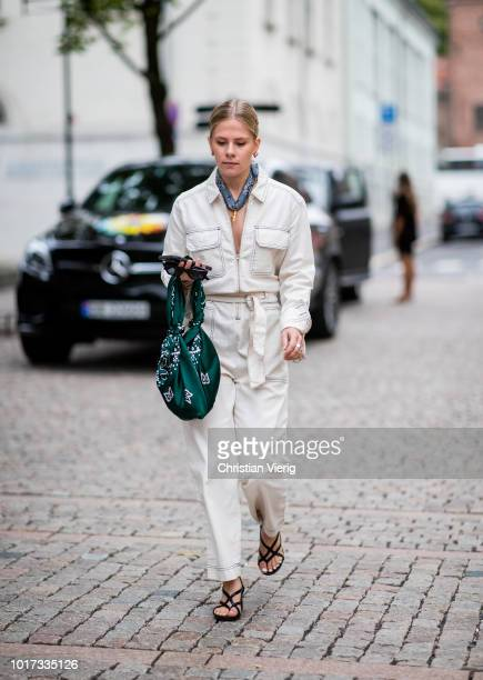 A guest is seen outside Moire during Oslo Runway SS19 on August 15 2018 in Oslo Norway