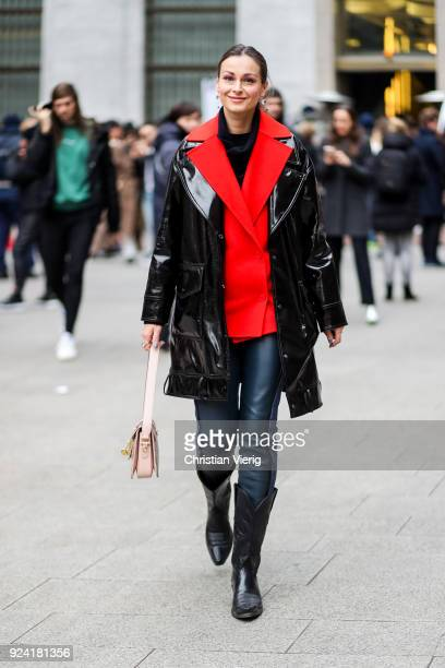A guest is seen outside MSGM during Milan Fashion Week Fall/Winter 2018/19 on February 25 2018 in Milan Italy