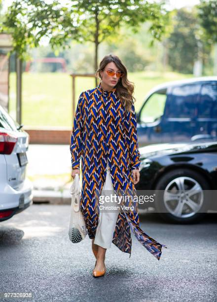 A guest is seen outside MSGM during Milan Men's Fashion Week Spring/Summer 2019 on June 17 2018 in Milan Italy