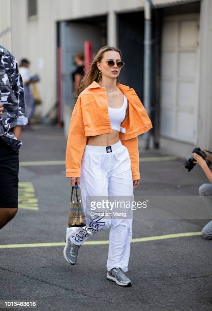 A guest is seen outside MUF10 during the Copenhagen Fashion Week Spring/Summer 2019 on August 8 2018 in Copenhagen Denmark