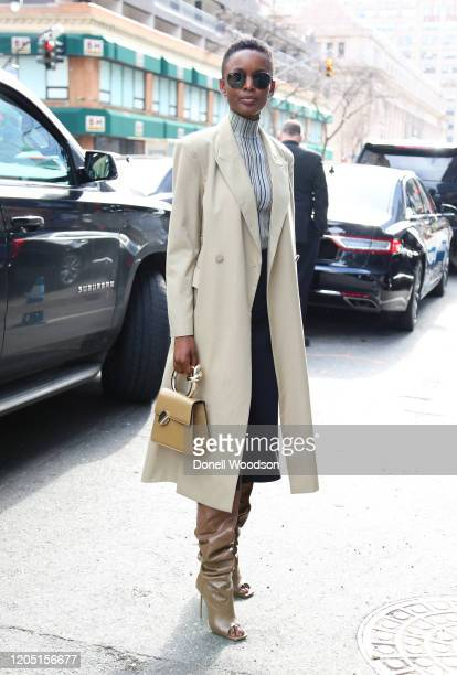 Guest is seen outside of the Longchamp show during New York Fashion Week on February 08, 2020 in New York City.