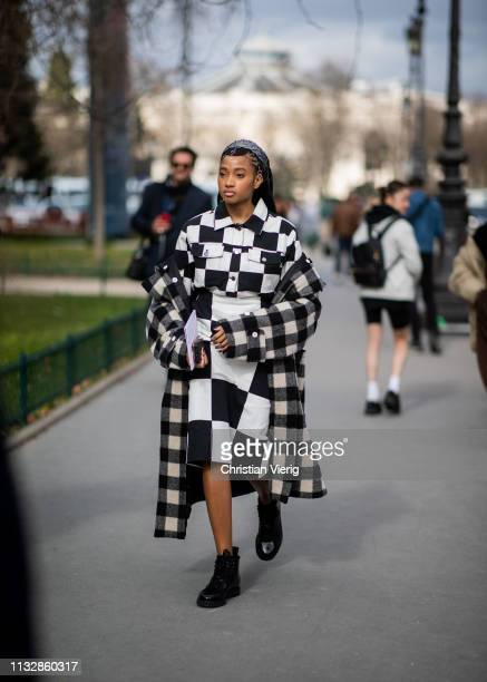 A guest is seen outside Paco Rabanne during Paris Fashion Week Womenswear Fall/Winter 2019/2020 on February 28 2019 in Paris France