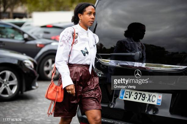 Guest is seen outside Rochas during Paris Fashion Week Womenswear Spring Summer 2020 on September 25, 2019 in Paris, France.