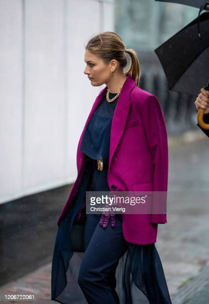 A guest is seen outside Roland Mouret during London Fashion Week February 2020 on February 16 2020 in London England