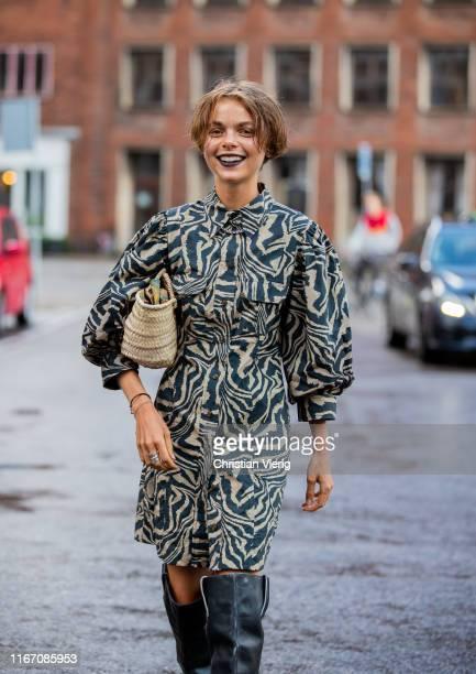 Guest is seen outside Saks Potts during Copenhagen Fashion Week Spring/Summer 2020 on August 08, 2019 in Copenhagen, Denmark.