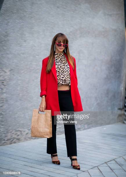 Guest is seen outside Temperley London during London Fashion Week September 2018 on September 15, 2018 in London, England.