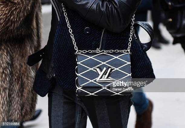 Guest is seen outside the Alexander Wang show with a LV bag during New York Fashion Week: Women's Fall/Winter 2016 on February 13, 2016 in New York...