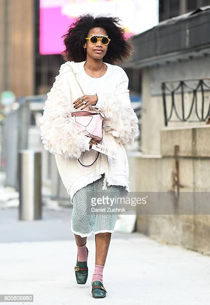 A guest is seen outside the Anna Sui show during New York Fashion Week Spring 2017 on September 14 2016 in New York City