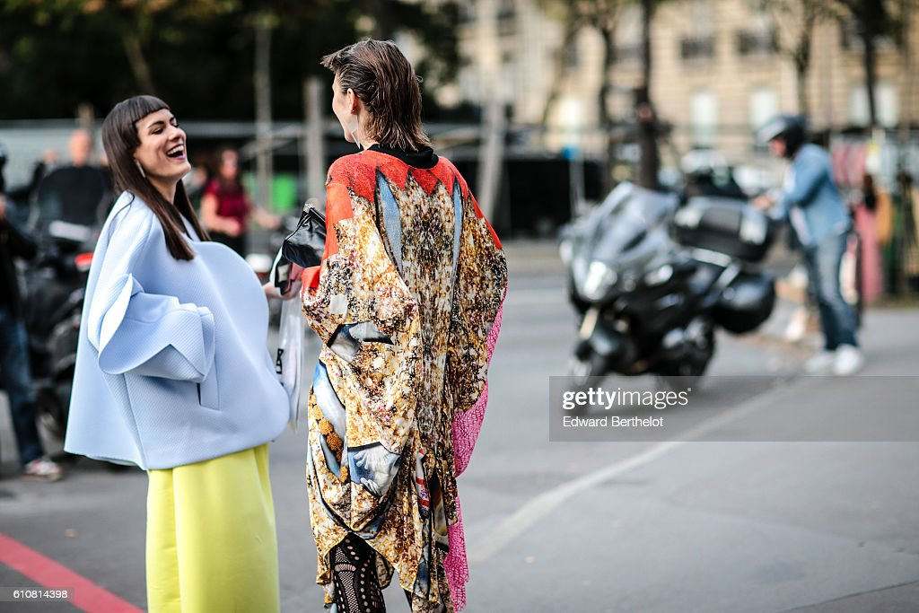 A guest is seen outside the Anrealage show at the Palais de Tokyo, at Paris Fashion Week Spring/Summer 2017 on September 27, 2016 in Paris, France.