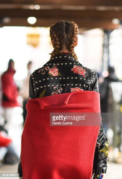 A guest is seen outside the Christian Cowan show during New York Fashion Week Women's A/W 2018 on February 10 2018 in New York City
