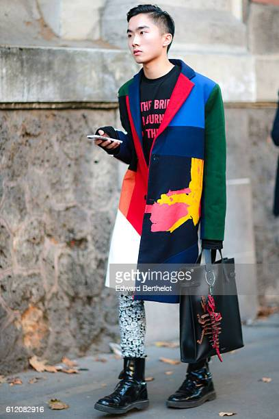 A guest is seen outside the Galliano show during Paris Fashion Week Spring Summer 2017 on October 2 2016 in Paris France