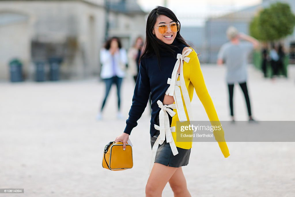 A guest is seen outside the Jacquemus show at the Tuileries Garden during Paris Fashion Week Spring Summer 2017 on September 27, 2016 in Paris, France.