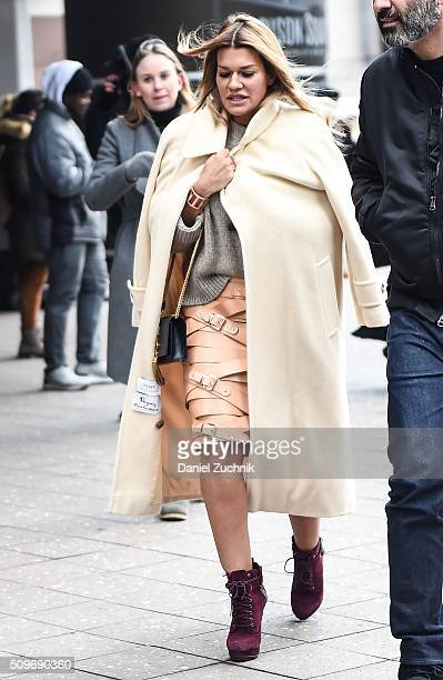 Guest is seen outside the Kanye West show wearing a leather belted brown skirt during New York Fashion Week: Women's Fall/Winter 2016 on February 11,...