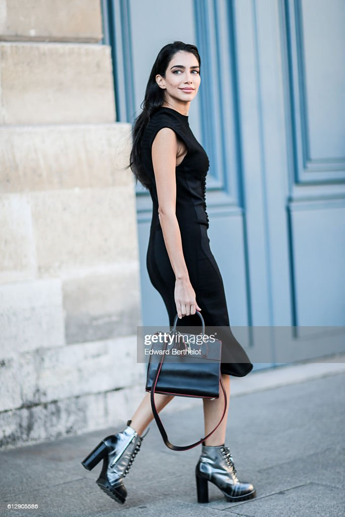 A guest is seen, outside the Louis Vuitton show, during Paris Fashion Week Spring Summer 2017, on October 5, 2016 in Paris, France.