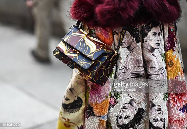 A guest is seen outside the Marchesa show during New York Fashion Week Women's Fall/Winter 2016 on February 17 2016 in New York City