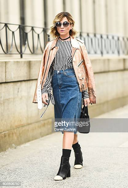 Guest is seen outside the Marchesa show during New York Fashion Week Spring 2017 on September 14 2016 in New York City