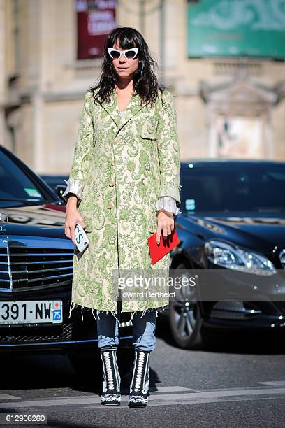 A guest is seen outside the Miu Miu show during Paris Fashion Week Spring Summer 2017 on October 5 2016 in Paris France