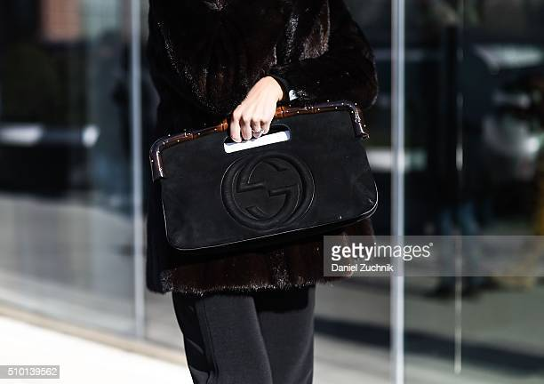 A guest is seen outside the Tibi show with a Gucci bag during New York Fashion Week Women's Fall/Winter 2016 on February 13 2016 in New York City
