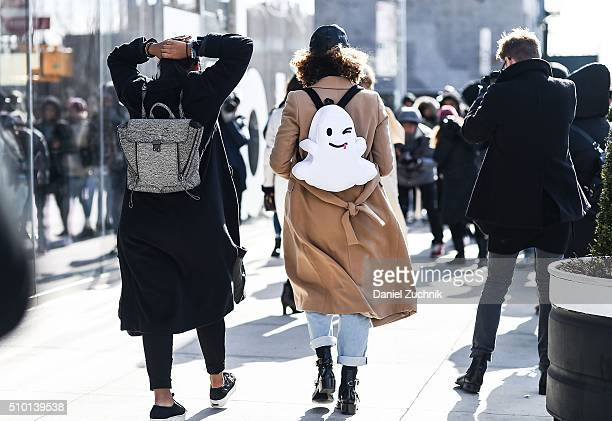 A guest is seen outside the Tibi show with a white ghost Snapchat backpack during New York Fashion Week Women's Fall/Winter 2016 on February 13 2016...