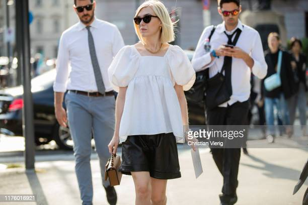 A guest is seen outside the Tod's show during Milan Fashion Week Spring/Summer 2020 on September 20 2019 in Milan Italy