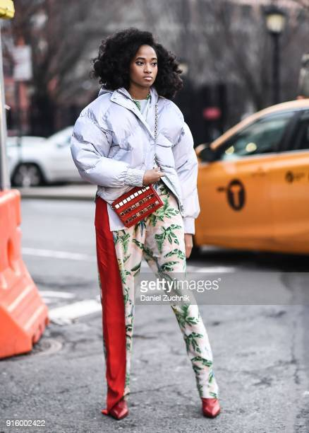A guest is seen outside the Ulla Johnson show during New York Fashion Week Women's A/W 2018 on February 8 2018 in New York City