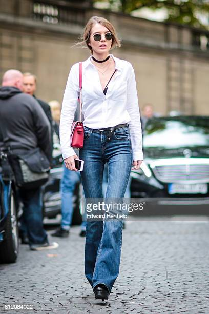 A guest is seen outside the Valentino show during Paris Fashion Week Spring Summer 2017 on October 2 2016 in Paris France