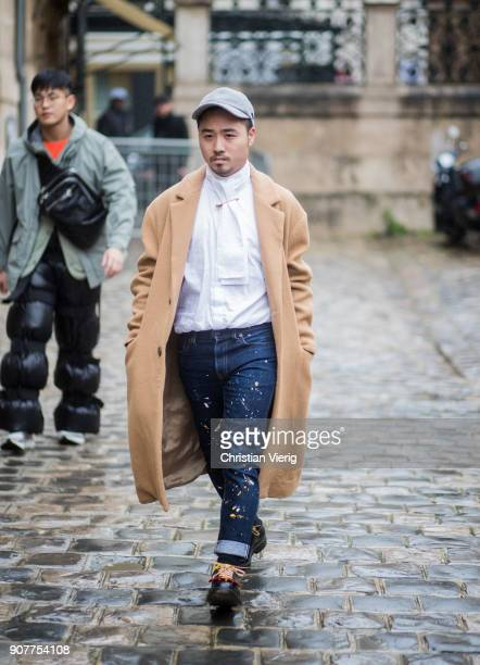 A guest is seen outside Thom Browne on January 20 2018 in Paris France