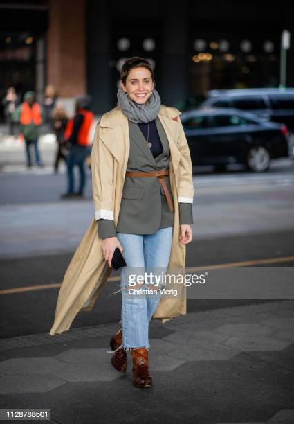 A guest is seen outside Tory Burch during New York Fashion Week Autumn Winter 2019 on February 10 2019 in New York City