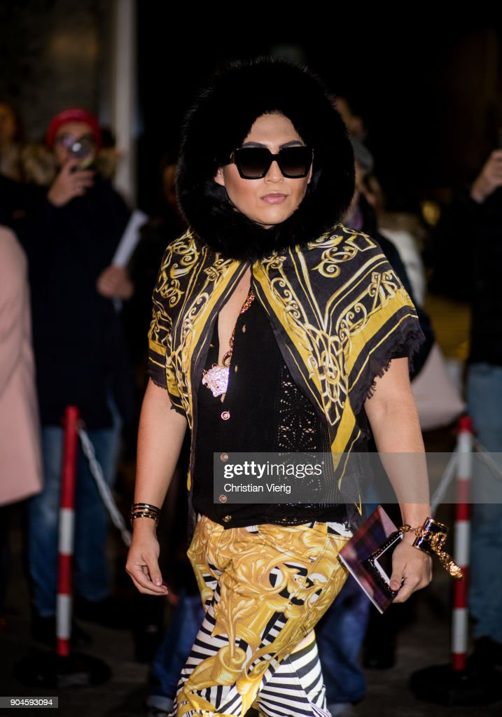 A guest is seen outside Versace during Milan Men's Fashion Week Fall/Winter 2018/19 on January 13, 2018 in Milan, Italy.