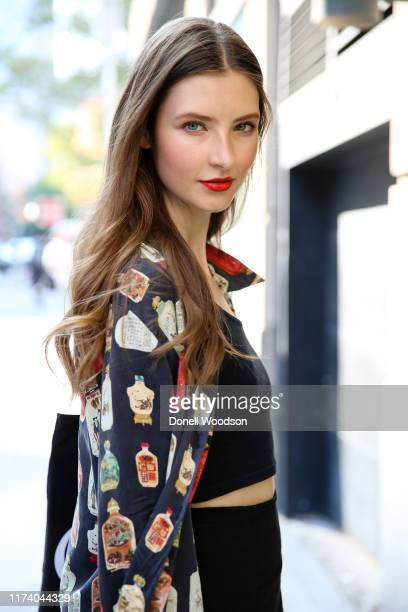 Guest is seen posing at Spring Studios during New York Fashion Week on September 11, 2019 in New York City.