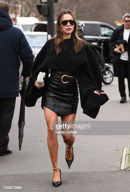 A guest is seen wearing a Balmain outfit outside the Balmain show during Paris Fashion Week AW20 on February 28 2020 in Paris France