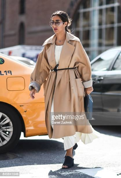 A guest is seen wearing a beige coat outside the 31 Phillip Lim show show during New York Fashion Week Women's S/S 2018 on September 11 2017 in New...