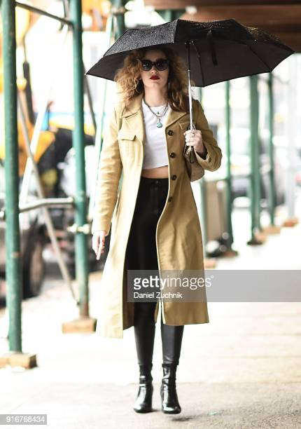 A guest is seen wearing a beige coat outside the Christian Cowan show during New York Fashion Week Women's A/W 2018 on February 10 2018 in New York...